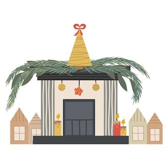Skandynawski kominek bożonarodzeniowy z pojedynczymi świecami i jodłami. świąteczne przytulne palenisko z domami i gałęziami jodły. ilustracja wektorowa w stylu płaski. przytulny sezon zimowych wakacji.