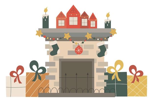 Skandynawski kominek świąteczny z pojedynczymi świecami i girlandami świąteczne przytulne palenisko z domami i prezentami.ilustracja wektorowa w płaskim stylu. przytulny sezon zimowych wakacji.