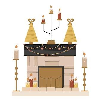 Skandynawski kominek świąteczny ze świecami i jodłami na białym tle. świąteczne przytulne palenisko z girlandami i świecznikami. ilustracja wektorowa w stylu płaski. przytulne zimowe wakacje.