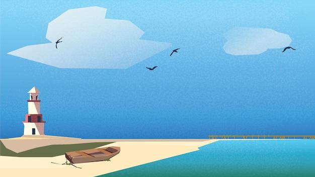 Skandynawski lub nordycki krajobraz nadmorski. latarnia morska, drewniana łódź na plaży z pomostem pod niebieskim niebem i turkusowym zielonym morzem.