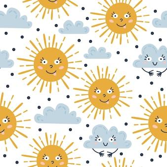 Skandynawski wzór pogody. ilustracja wektorowa dla dzieci. kreatywne skandynawskie tło dla tekstyliów, papieru do pakowania, kart okolicznościowych lub plakatów. jeden z 12