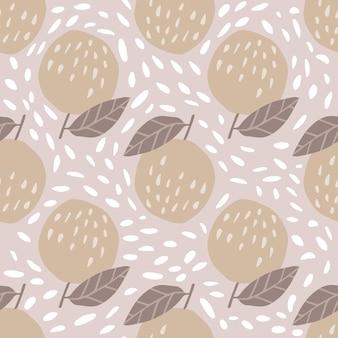 Skandynawski wzór z jabłkami i liśćmi. słodkie jabłka w stylu wyciągnąć rękę. projektowanie tkanin, nadruków na tekstyliach, papieru do pakowania, tekstyliów dziecięcych. ilustracja wektorowa