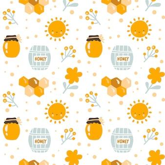 Skandynawskie dzieci wektor wzór słodkiej pszczoły ze słoikiem miodu, słońcem, kwiatem dziecka i sześciokątem