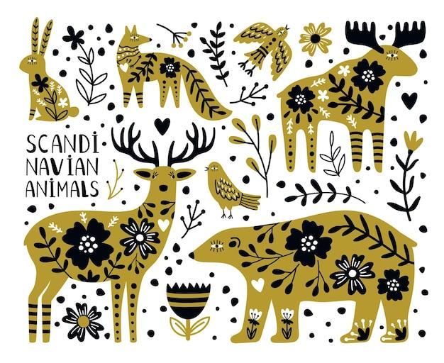 Skandynawskie dzikie zwierzęta. słodki miś i jeleń, królik i lis między gałęziami i jagodami, ilustracja wektorowa nordyckich zwierząt na białym tle