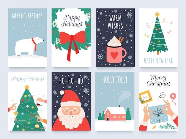 Skandynawskie kartki świąteczne. przytulne ferie zimowe, noel i obchody nowego roku ze słodkim mikołajem, niedźwiedziem polarnym i zestawem wektorów drzew. ilustracja plakat z życzeniami bożonarodzeniowymi i kartka na ferie zimowe