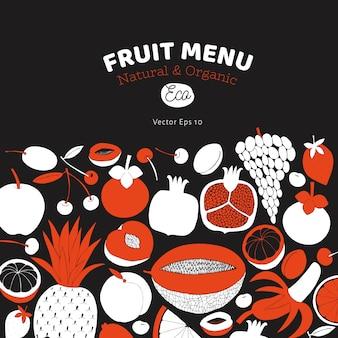 Skandynawskie ręcznie rysowane owoce szablon.