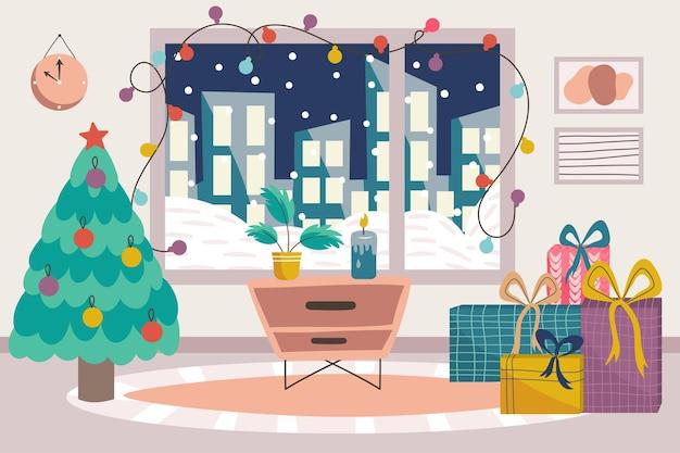 Skandynawskie wnętrze bożonarodzeniowe z choinką, stolikiem nocnym i prezentami. przytulna skandynawska zima, duże okno z domkami i dywan do salonu. ilustracja wektorowa.