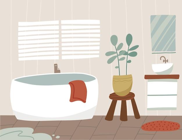 Skandynawskie wnętrze łazienki z wanną i umywalką z lustrem, ilustracja płaska