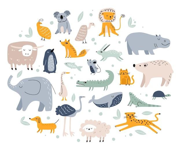 Skandynawskie zwierzęta śliczne dziecinne lisy słoń niedźwiedź krokodyl królik kot leśne zwierzę dżungli