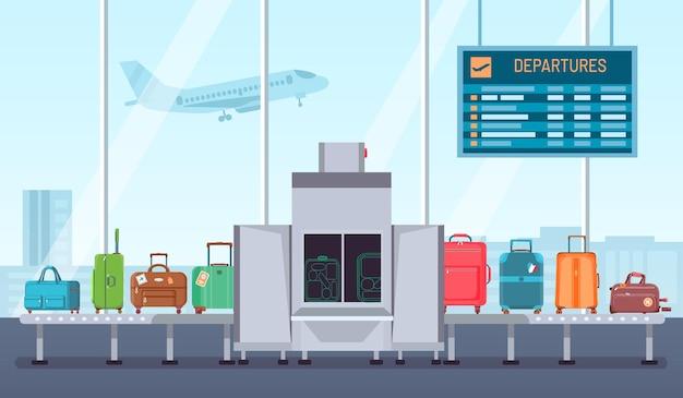 Skaner bagażu na lotnisku. przenośnik taśmowy z terminalem kontroli bagażu i kontroli. kontrola bezpieczeństwa dla koncepcji wektor torby i walizki. ilustracja bezpieczeństwa bagażu na lotnisku, czeku i skanera