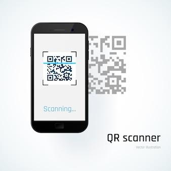Skaner qr. telefon komórkowy skanuje kod qr. ilustracja