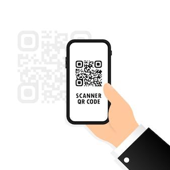 Skaner qr. telefon komórkowy w dłoni skanuje kod qr. zeskanuj kod qr za pomocą telefonu komórkowego.