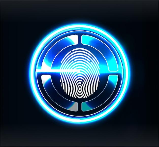 Skanery weryfikacyjne. skanowanie palców w futurystycznym stylu. identyfikator biometryczny z futurystycznym