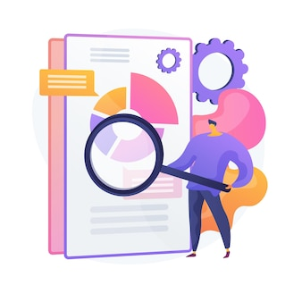 Skanowanie dokumentów biznesowych. elektroniczny dokument online z infografikami wykresu kołowego. analityka danych, raport roczny, sprawdzanie wyników. człowiek z lupą.