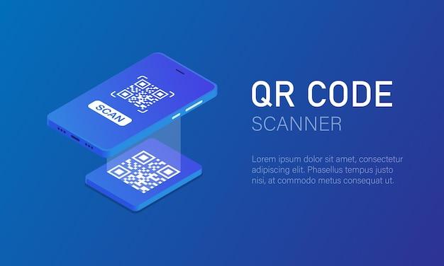 Skanowanie kodów qr. telefon komórkowy ze skanerem odczytuje kod qr w stylu izometrycznym. ilustracja wektorowa eps 10