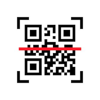 Skanowanie kodów qr. zeskanuj mnie. czytaj kod kreskowy, mobilność, generowanie aplikacji, kodowanie. rozpoznawanie ikon lub czytanie kodu qr w stylu płaski.