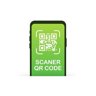 Skanowanie kodu qr jak czarny telefon liniowy. kwadratowych pikseli sztuki, produktu, etykiety promocyjnej, telefonu, ekranu, urządzenia. ilustracja.