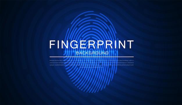 Skanowanie linii papilarnych na abstrakcyjnej koncepcji systemu bezpieczeństwa z odciskiem palca
