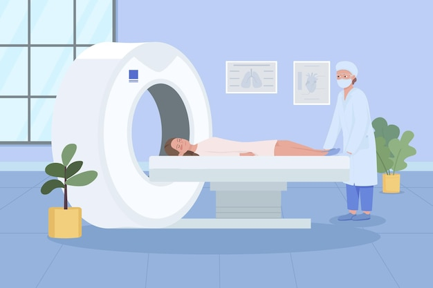 Skanowanie mri płaskie. monitorowanie opieki zdrowotnej. diagnostyka chorób. technologia ultradźwiękowa. pacjent odwiedzający lekarza kreskówka 2d .