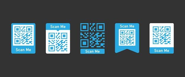 Skanowanie zestawu kodów qr dla smartfona. napis zeskanuj mnie ikonami smartfona. kod qr do zapłaty. napis zeskanuj mnie ikoną smartfona. wektor eps 10