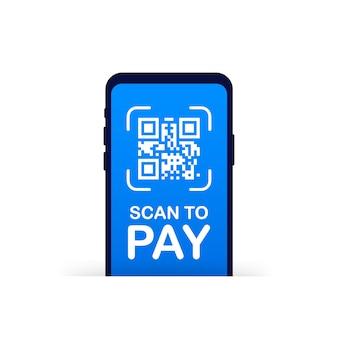 Skanuj, aby zapłacić. smartfon skanuje kod qr na papierze w celu uzyskania szczegółów, technologii i prowadzenia działalności gospodarczej. ilustracja.