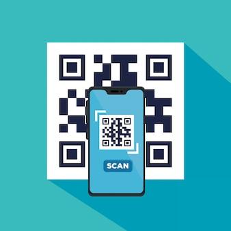 Skanuje kod qr z smartphone ilustracyjnym projektem