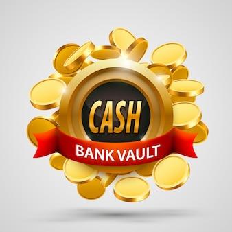 Skarbiec banku gotówkowego. depozyt monet. ilustracja wektorowa