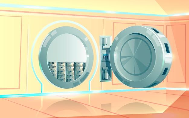 Skarbiec, okrągły metalowy zamek szyfrowy z drzwiami otwartymi