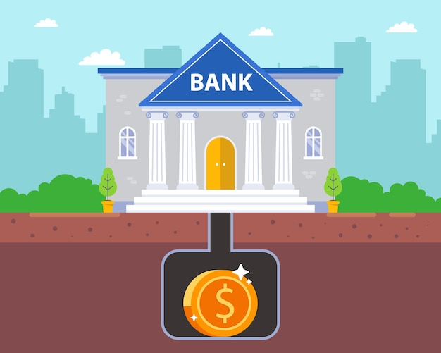 Skarbnica pieniędzy pod ziemią. bezpieczny bunkier pod bankiem.