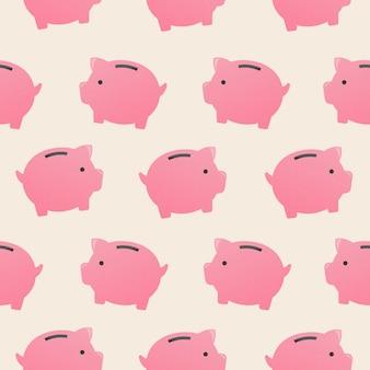 Skarbonka bezszwowe tło wzór, pieniądze wektor ilustracja finanse
