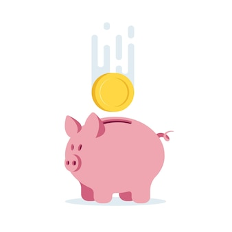 Skarbonka ikona dla projektu logo strony internetowej z monetą, ilustracji wektorowych