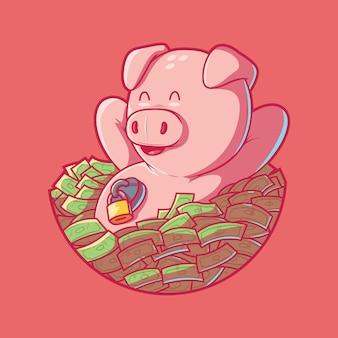 Skarbonka ilustracja oszczędności pieniądze koncepcja projektowa