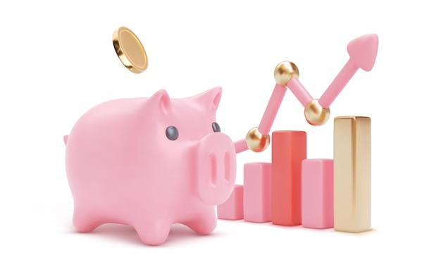Skarbonka z 3d strzałką na białym tle. oszczędności lub gromadzenie pieniędzy, ilustracja usług finansowych