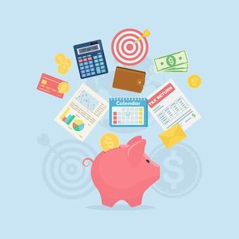 Skarbonka z banknotami dolarowymi, kalkulatorem, kalendarzem, portfelem, formularzem podatkowym, kartą kredytową na tle