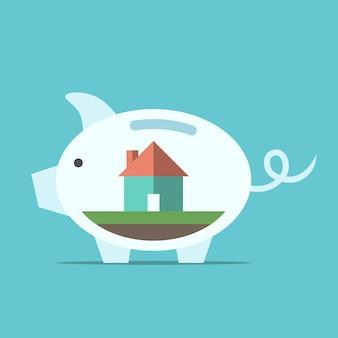 Skarbonka z domem w nim. koncepcja oszczędności, inwestycji, domu, finansów, gospodarki, pieniędzy i bogactwa. ilustracja wektorowa eps 8, bez przezroczystości