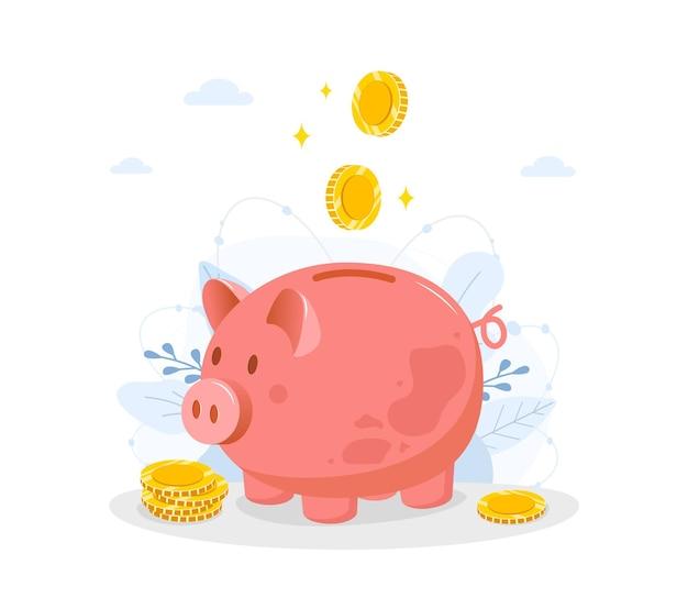 Skarbonka z spadającymi monetami. oszczędź koncepcję pieniędzy.