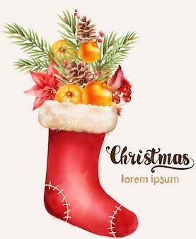 Skarpeta świąteczna pełna ozdób świątecznych