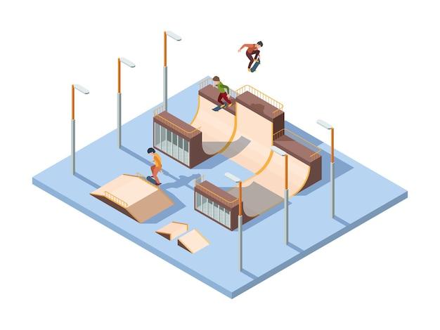 Skate park. młodych nastolatków aktywnych zawodników i skoczków sport ekstremalny działania deskorolka izometryczny tło wektor wydajność. miasto w skateparku, ilustracja aktywności osobistej i rekreacji