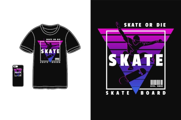 Skate t shirt design sylwetka w stylu retro