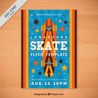 Skateboard sportu ulotki w płaskiej konstrukcji
