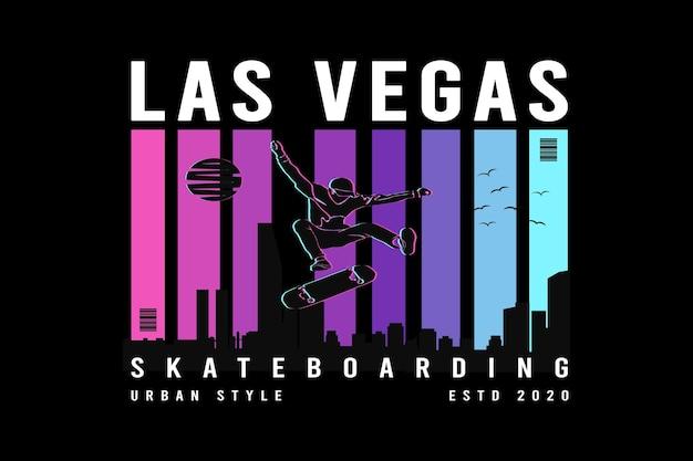Skateboarding la's vegas w stylu retro w stylu mułowym