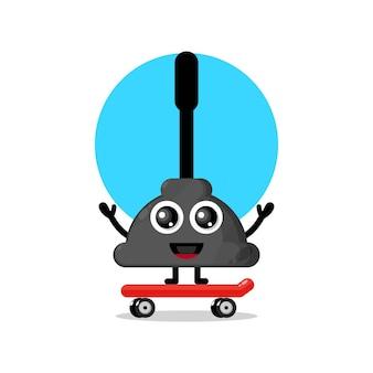 Skateboarding wc przyssawka urocza maskotka postaci