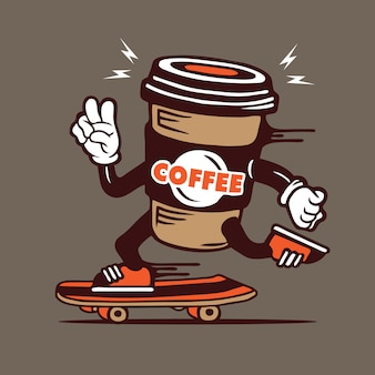 Skater coffee cup to go skateboarding character design
