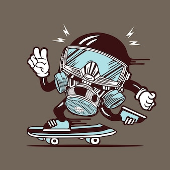 Skater gas mask head skateboarding character design