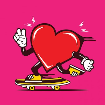 Skater heart shape love skateboarding character design