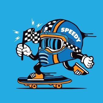 Skater racing helmet speedy skateboarding character design