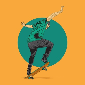 Skater robi trick trick. rysunek ręka w stylu grawerowania