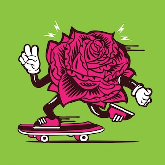 Skater rose flower skateboarding character design