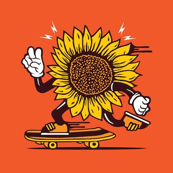 Skater sunflower skateboarding character design