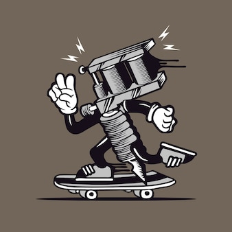 Skater tattoo machine skateboarding character design
